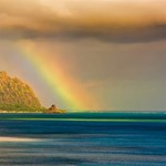 We love this shot of the rainbow over Kualoa!