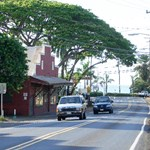 Driving through town, Haleiwa town.