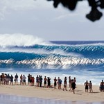 Onlookers watching the Banzai Pipeline
