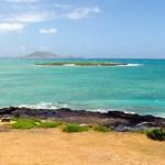 Flat island from afar