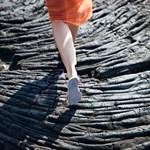 Visitor walking on Hardened Lava