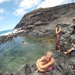 Splashing around tide pools one morning, basking in the sun, and excited for the rest of our days adventure.