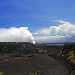 Located about 400 feet above the caldera floor, the overlook displays views of the 2 mile wide, 3 mile long Kilauea Caldera.