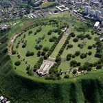 Aerial photo of the National Cemetery of the Pacific, Punchbowl